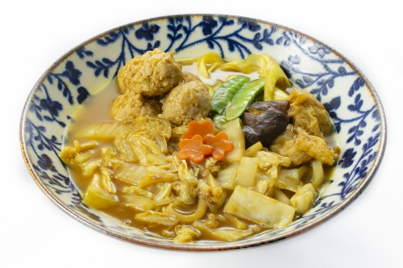 Curry-Udon with homemade chicken balls
