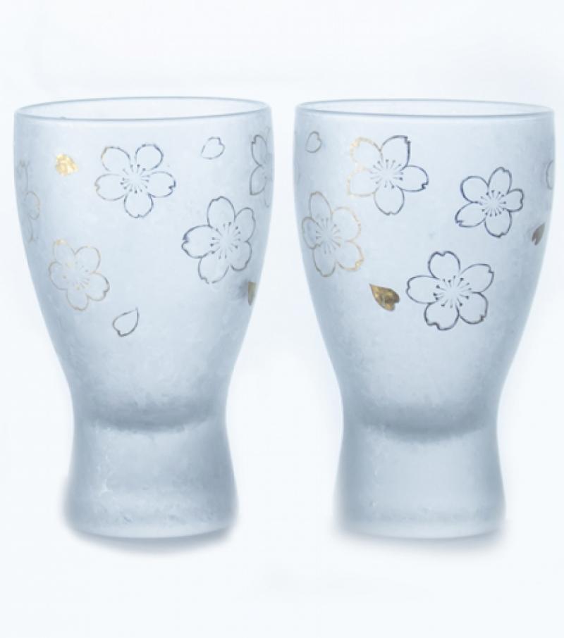 SAKURA Frothing SAKE Glass  Pair Sett  Aderia Japan